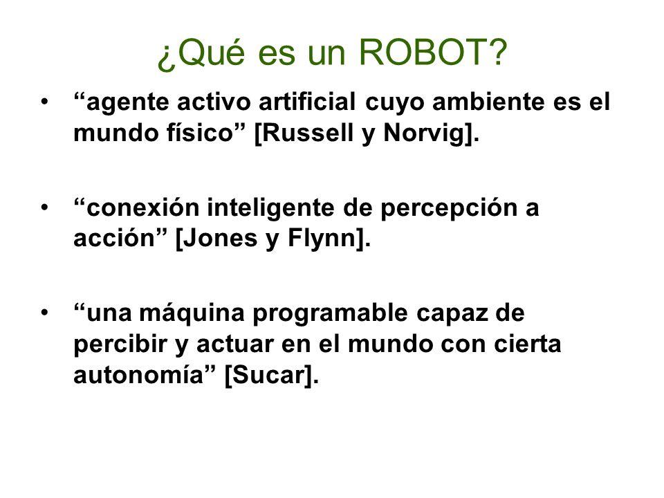 ¿Qué es un ROBOT agente activo artificial cuyo ambiente es el mundo físico [Russell y Norvig].